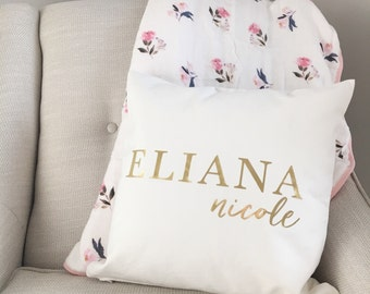 Personalized Pillow   Nursery Pillow   Gold Foil Pillow   Modern Nursery Bedding   Baby Shower Gift   Custom Name Pillow