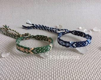 Friendship-bracelets, green or blue