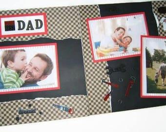 Dad scrapbook pages - Premade Dad Scrapbook Pages - Dad Scrapbook Layouts - Premade Dad Scrapbook Layouts - Father's Day Scrapbook Pages