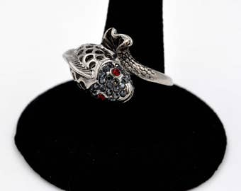 Stainless Steel And Black Crystal Wrap Fish Statement Ring