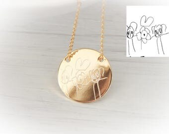 Gold Childrens Kids Drawing Necklace Handwriting Artwork jewelry, handwritten Mother s Day, Mothers Day Gift for mom, Your childs drawing