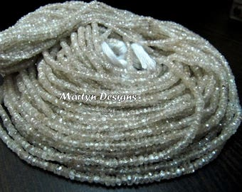 Natural White Creamish Color Zircon 3 mm Size Beads , Rondelle Faceted Untreated Zirconia Beads , Length 13 inches long , Wholesale Price.