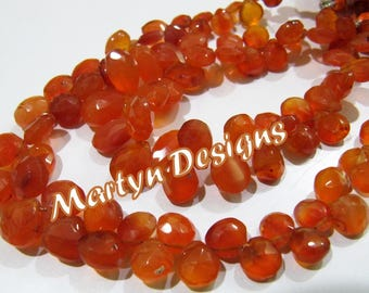 "Best Quality Faceted Pear Shape Genuine Carnelian Beads , 6x9mm to 10x13mm Size Briolette Beads , Length 8"" , Side Drilled Carnelian Beads"