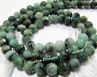 "Natural Emerald High Cutting and Polished Beads , 5-6mm Size Faceted Round Beads , Strand 10"" long ,Precious Gemstone Beads ,Wholesale Price"