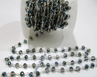 AAA Quality Mystic Coated Smoky Hydro Quartz Beaded Chain , 6 mm Rondelle Faceted Rosary Chain , Wire Wrapped Chain , Sold per 3 FEET