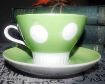 Vintage (c.1980s) green and white polka dot tea sets made in the USSR at the Riga Porcelain Factory.  So cute - so retro.