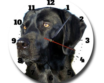 Black Labrador, Dog, Round Metal Wall Clock No.839