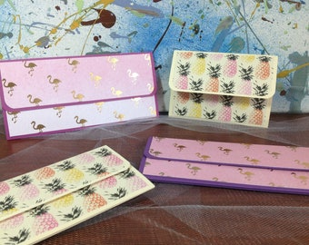 Handmade pop-up money holders, pop-up gift card holders,flamingo and pineapples