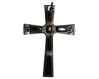 Navajo Native American Inspired Sterling Black Onyx Cross Pendant