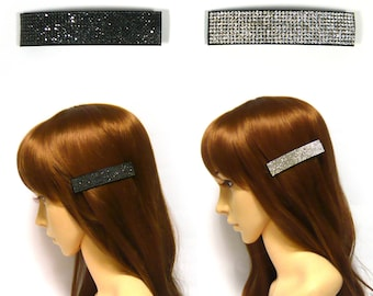 Simple Long Square Sparkly Crystal Rhinestone Stud Barrette Hair Jewelry Clip Pin Accessory Women Lady Girl Party Wedding Bridal Prom Gift