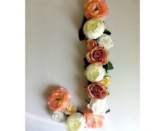 Boho letter flower/ flower wall decor/ nursery flowers girl/ Letter J flower/ Floral leller J/ custom flower letter/ pink flower girls