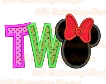 Two Minnie Embroidery Applique Design, Mouse ears, ms-129