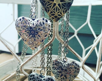 """BULK DIY WHOLESALE Lot Platinum Colored Essential Oil Diffuser 18"""" 21"""" 24"""" or 30"""" Necklaces Heart Locket Aromatherapy Diffuse Oils Jewelry"""