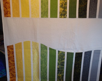 modern quilt, twin size quilt, double size quilt, lap throw, yellow and green quilt, green quilt