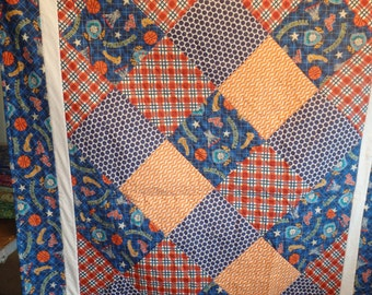 boy's quilt, teen quilt, single bed quilt, twin size quilt, blue quilt, orange and blue quilt, orange quilt, gifts for him, basketball quilt