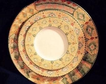 18 piece- Southwest, Quality Sakura Dinnerware / Moccasin Pattern by Sue Zipkin - FREE Serving Bowl!