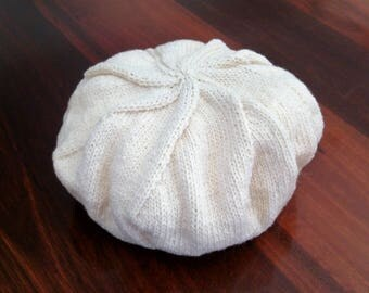 Handknitted 100% Woollen Cream Beret, Cap.