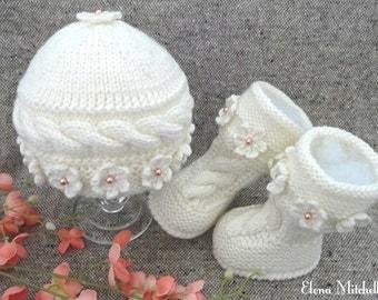 Crochet Baby Girl Set Crochet Baby Shoes Baby Hat Crochet Baby Beanie Baby Girl Winter Set Knitted Baby Set Baby Booties Baby Shoes