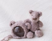 Teddy and Teddy hat set Knitted Teddy Teddy Bonnet Photography prop UK Seller Cream teddy Beige Teddy Grey Teddy