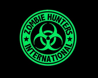 Zombie Hunters International Bio Hazard Vinyl Decal in your choice of great glitter colors and sizes!