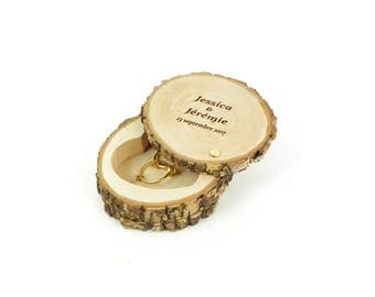 Personalized ring bearer box, holder, nature, box ring bearer personalized with your names and date of your wedding