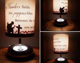 Ww1 and ww2 Remembrance  memorial lamp and shade. Soldier in a poppy field  (lest we forget), flanders fields