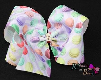 "Girls JoJo Siwa inspired magaron 7"" Rhinestone handmade Hair Bow Clip"