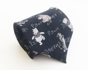 Winnie the Pooh tie: Tigger tie, Eeyore tie, crazy tie, awesome tie, great fun tie, awesome tie, unique tie, black and gray tie