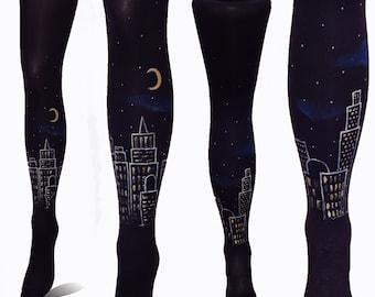 Elegant Tights, Black Tights, City at Night, Painted Tights, Night Sky Tights, Stars Tights