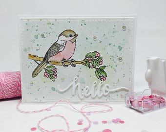 Handmade Card - Hello - Watercolour Bird Theme