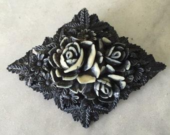 Vintage celluloid Black Floral pin