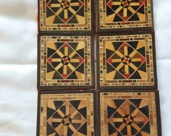 Wooden Coasters Vintage Intricate Detail Square Inlayed Felt Backing Home Decor Barware