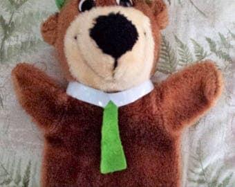 Vintage Yogi Bear hand puppet by Mighty Star 1980, plush, Hanna Barbera Productions Inc