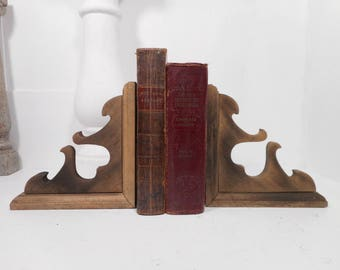 Vintage Wood Corbels,  Weathered Decorative Porch Brackets, Architectural Salvage Bookends