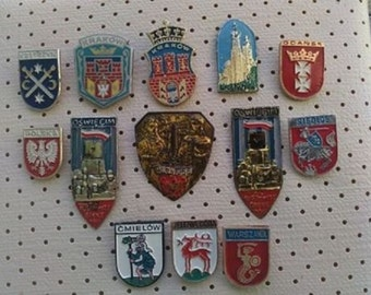 Polish Cities Coat of Arms Poland City Crests Collection of Vintage pins Souvenirs Vintage