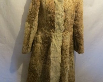 Vintage Fur Coat/Rabbit Fur/long fur coat/Brown/ladies/women/winter coat/fur jacket/blazer/size M/Shoulder to Shoulder