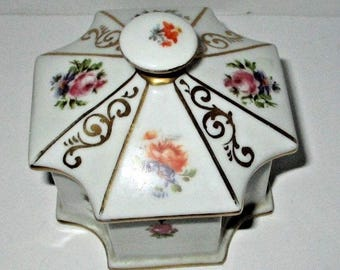 Antique Art Deco 1920s Erphila Germany Hand Painted Porcelain Dresser Box Powder Jar Floral Roses Flowers German China