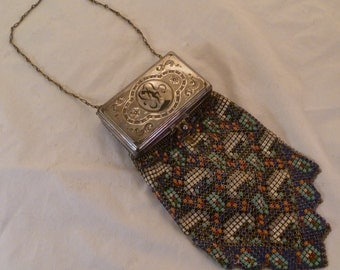 Rare Art Deco Whiting and Davis Multicolored Mesh Evening Bag with Built-in Compacts