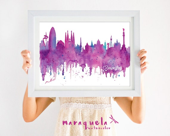 ORIGNAL BARCELONA Skyline HANDMADE Blue and pink hues,original watercolor, skyliner Spain painted hand made, gift Barna decoration trip,Bcna