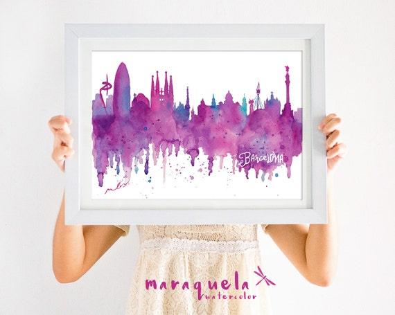 ORIGNAL BARCELONA Skyline HANDMADE Blue and pink hues,original watercolor, skyliner Spain painted hand made, gift Barna decoration trip,Bcna