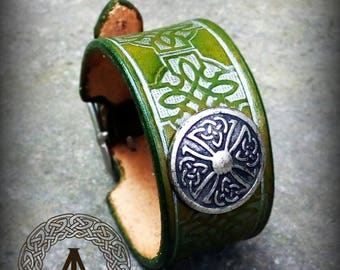 Green Leather Celtic Cuff Bracelet with Celtic Concho