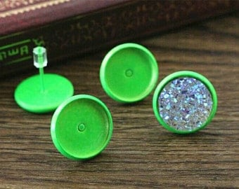 NEW - 20pcs 12mm Bezel - Painted Neon Green Stud Earring Cabochon Settings DIY Earrings Jewelry Supply Studs Earnuts