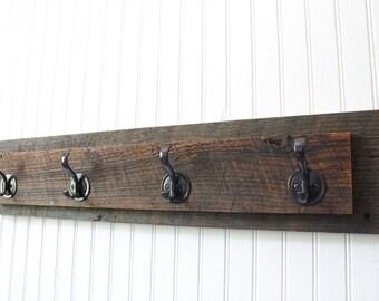 Reclaimed Hanging Rack, Wall coat rack, 4 hook, entryway organizer, towel rack, reclaimed wood coat rack, reclaimed wood towel rack
