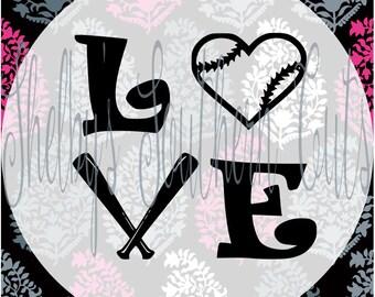 Love - Baseball Heart - SVG EPS DXF