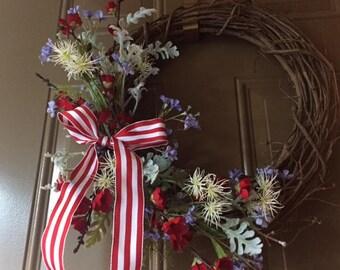Patriotic Wreath  Red, White & Blue