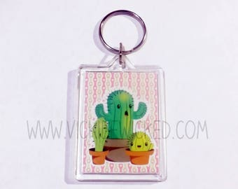 Succulents, Cute Cactus, 2 inch Keychain
