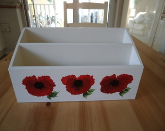 Hand Crafted and Hand Painted Red Poppy Double Letter Rack