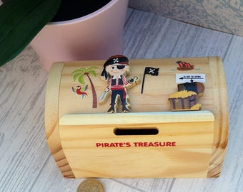 Childrens wooden money box, personalised money box, pirate money box, treasure chest money box, childrens birthday gift,  moneybox,