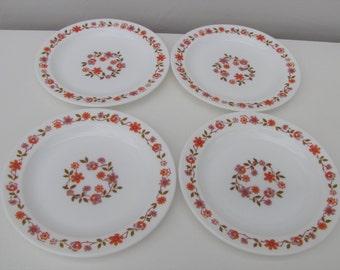 Four Vintage 1970s Arcopal Tea Plates in Fab Scania Pattern Retro Kitchen Caravan Camper