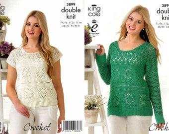 """King Cole Crochet Pattern 3899~Sweater & Top~DK~28-46"""""""